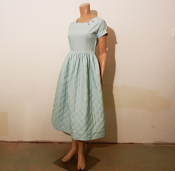 1940s dress / Vintage 40's Teena Paige Quilted Tea Length Square Collar Dress