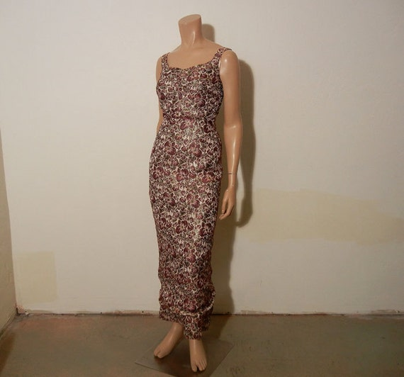 1960s dress / Brocade Floral Print Vintage 60's Wiggle With Matching Evening Cape