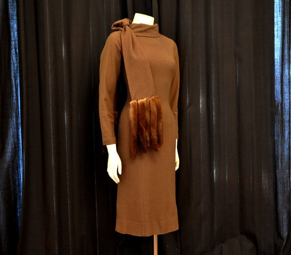 1960s dress / The Clever Minx Vintage 60's Eisenberg Bombshell Wiggle Dress Fur Tail Wrap