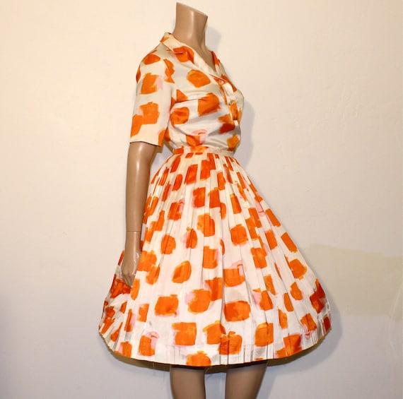 1950s full skirt blouse / Orange A Peel 2pc 50's Judy Ann Pleated Skirt and Blouse Set