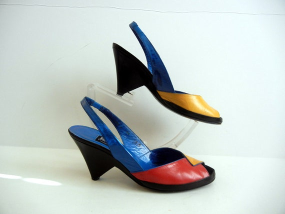 1980s shoes / Avante Garde Vintage 80's Color Block Neiman Marcus High Heel Shoes