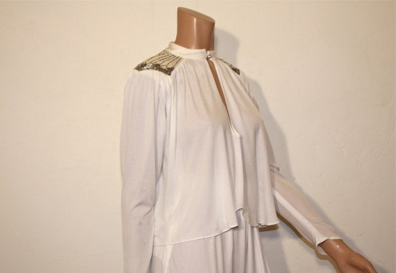 1970s Blouse / Mrs Jagger Studio 54 Vintage 1970's Disco Harem Pant and Beaded Top Suit