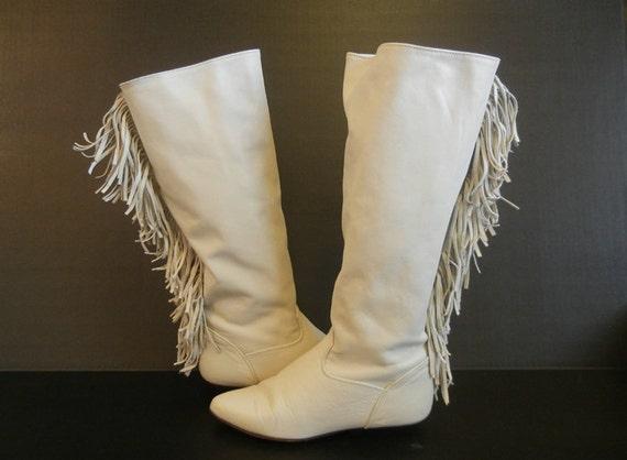 1980's Boots / Bad to the Bone Vintage 80's Boho Zodiac Tall Flat Fringe  Boots