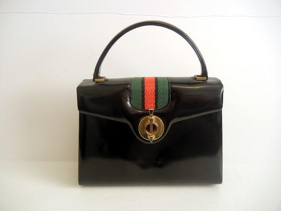 1960's Purse / Vintage 60's Red Green Stripe Embellished Black Kelly Bag