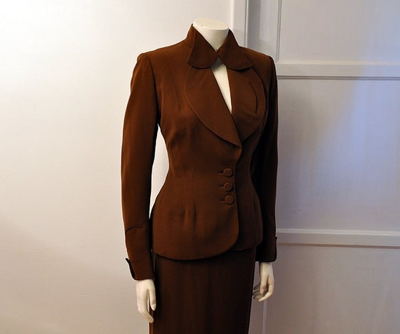 1940's Suit / Vintage 40's Suit Jacket and Wiggle Skirt Set Hollywood Glam