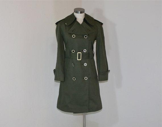 1970s coat / Bond Girl Vintage 1970's  Misty Harbor Olive Spy Trench Coat