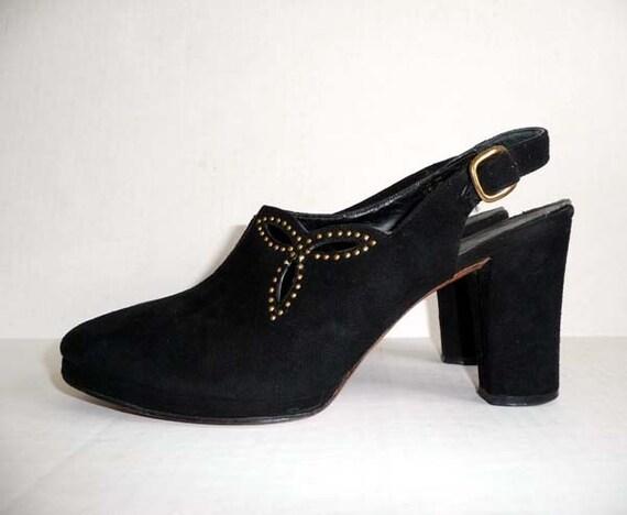 1940s shoes / Vintage 40's Platform Shoes Black Cut Outs Studded Platforms