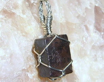 Devil's Dice Limonite Crystal Sterling Silver Wire Pendant
