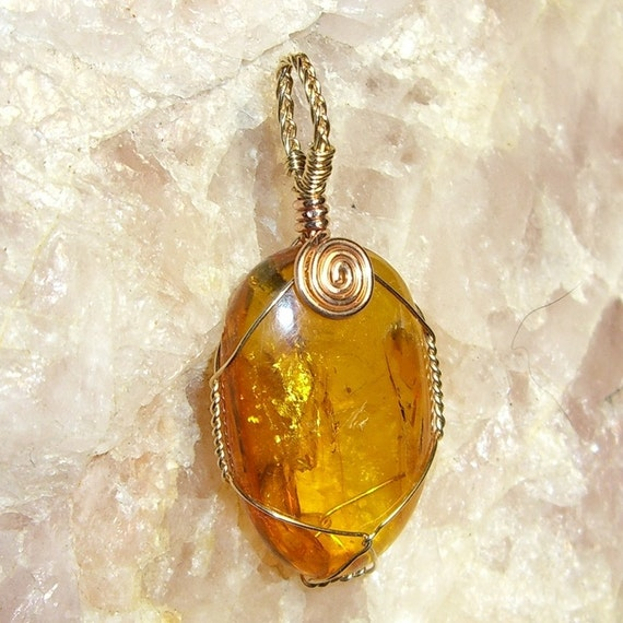 Natural Baltic Amber 14kt Yellow and Rose Gold Wire Pendant