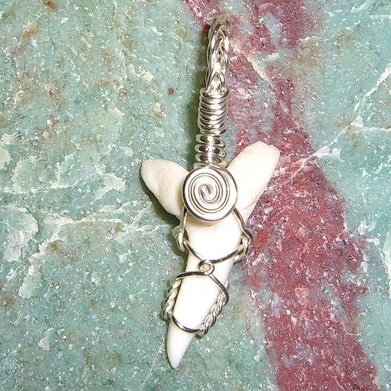 Mako Shark Tooth Sterling Silver Wire Pendant