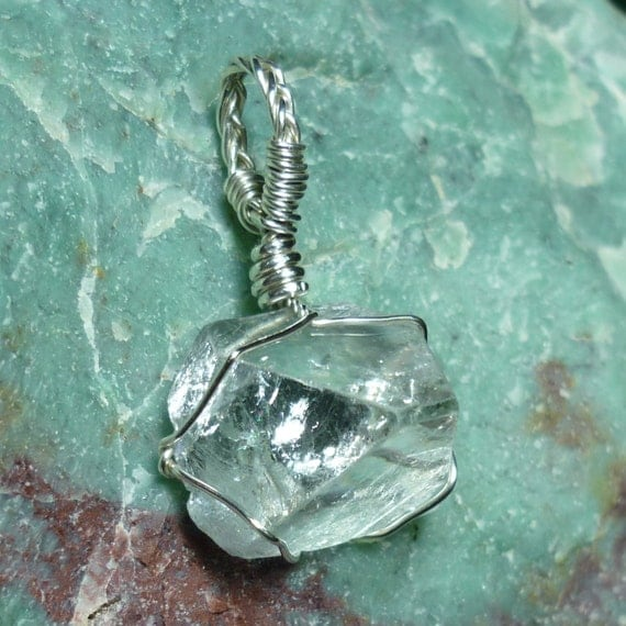 Apophyllite Pyramid Crystal Sterling Silver Wire Pendant