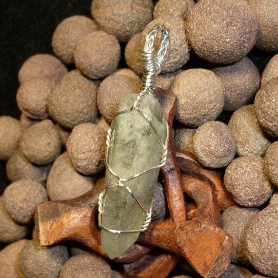 Ultra Rare Calcite Phantom Toumalinated Elestial Quartz Crystal Sterling Silver Wire Pendant