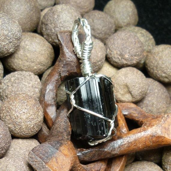 Black Tourmaline Schorl Crystal Sterling Silver Wire Pendant