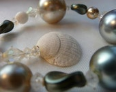 PEARL SHORE- Vintage Funky Faux Oyster Pearl, Antique Crystal, Natural Shell Shore BRACELET