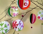 Cranberry pop. Paper Bauble Set
