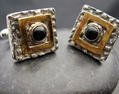 SALE - Bravo Gold - Fine Silver and Gold Accents and Black Onyx Cufflinks for Men or Women