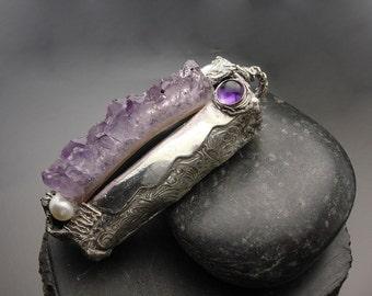 Lilac Dreams Fine Silver, Amethyst and Pearl Pendant