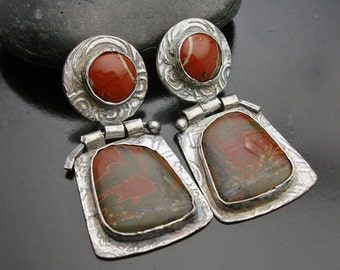 Earrings, silver, stone, one-of-a-kind, artisan, Cry Me A River - Picasso and Red River Jasper Fine Silver Earrings