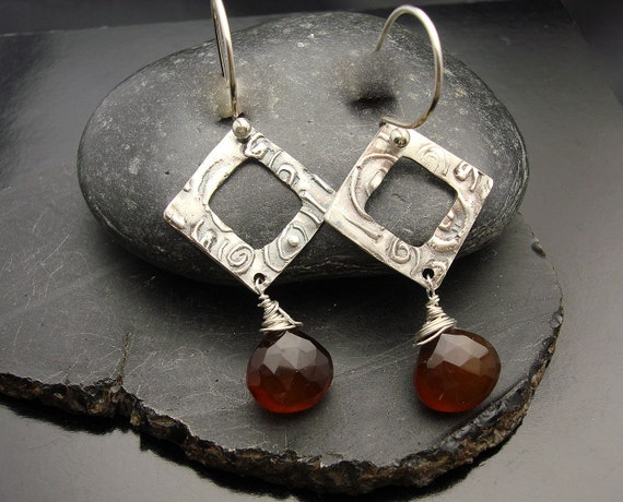 Root Beer Float - Fine Silver and Hessonite Chalcedony Earrings