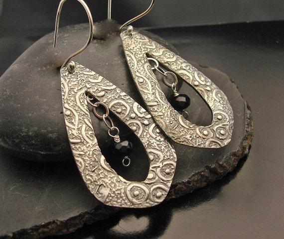 ON SALE Dancing Giants Fine Silver Earrings with Black Onyx