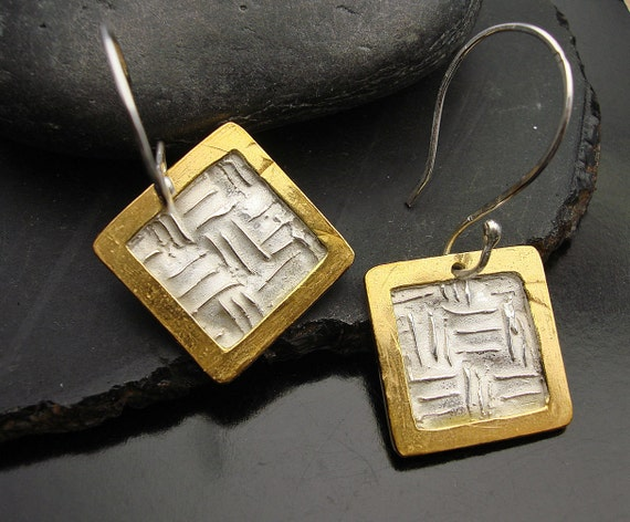 Virgin Gold Rush Earrings - Framed Fine silver and Gold Squares