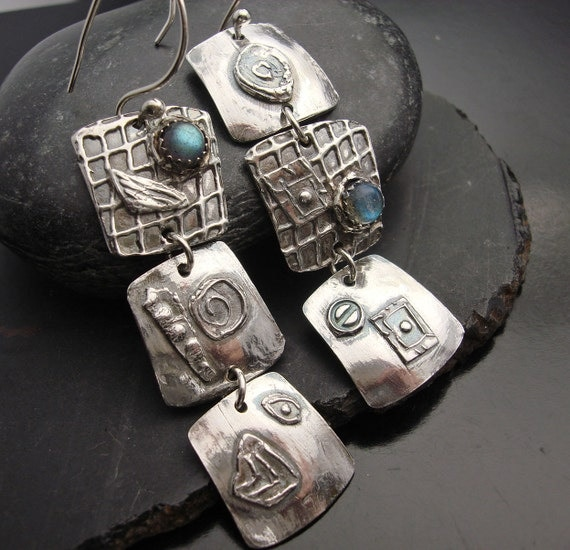 made to order Outrageous - Sterling silver and Labradorite Earrings