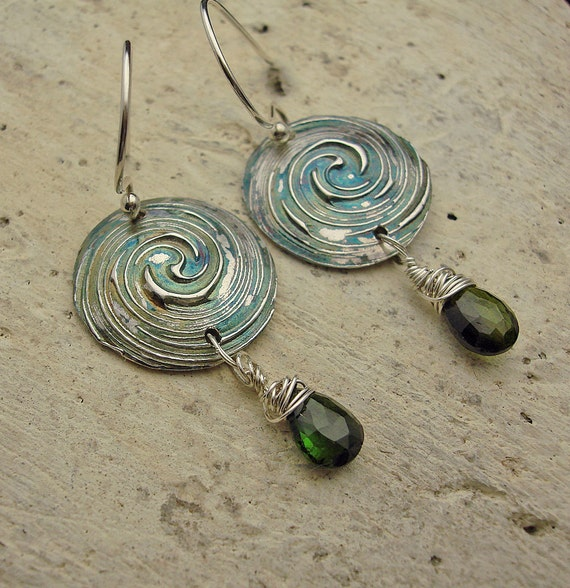 Just In Time - Fine Silver and Green Tourmaline Briolette Earrings