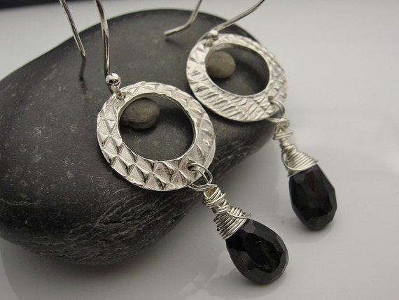 Basic Black, Fine Silver and Black Spinel Earrings