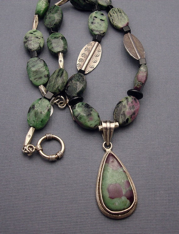 SALE Designs by Suzyn Ruby Zosite, silver and black onyx Necklace with pendant