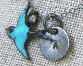 Blue Bird Initial Necklace