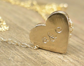 Personalized Gift for Women- Personalized Heart Initial Necklace -  Heart Initial Jewelry Gold Plated Pewter - Womens