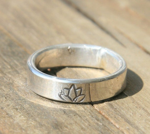 Thick Personalized Ring  - Sterling Silver Engraved Ring