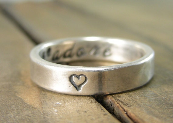 Silver Ring - Recycled Silver J'Adore Secret Message Ring -  I love you Ring