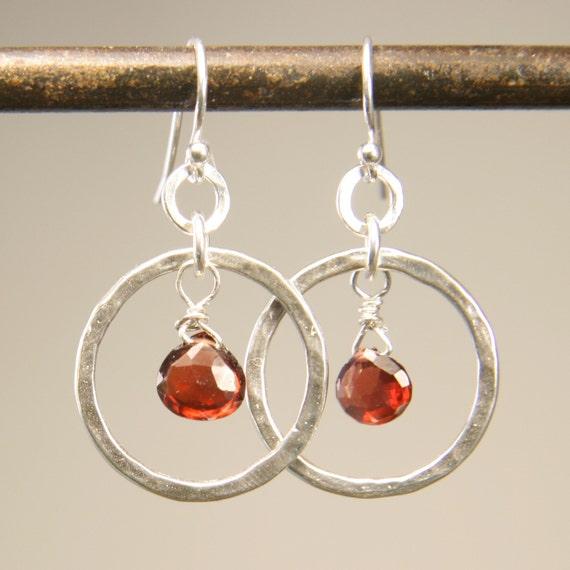 Gemstone Jewelry - Silver Earrings -  Hammered Hoop and Garnet Earrings