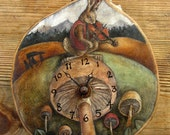 RESERVED - The Hare Mycomusicologist Clock - Rustic hand-painted folktale clock