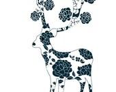 Lovely Deer Print Navy Rose Flower Pattern Animal Illustartion Love Wedding Gift Home Decor Large 13 X 19