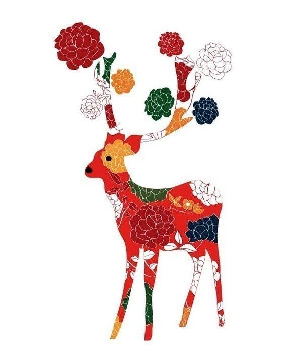 Lovely Deer Print / Colorful Flower Pattern
