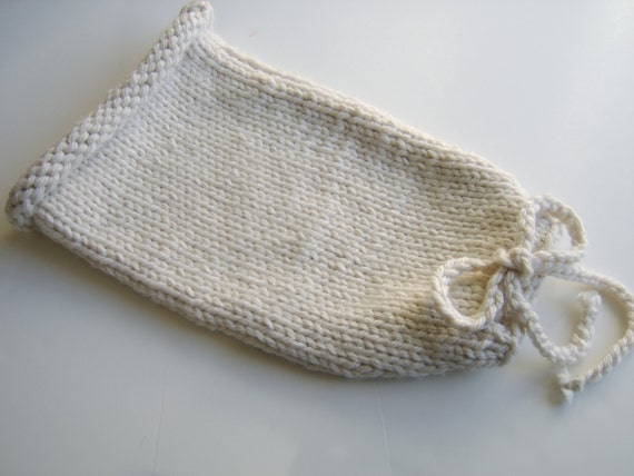 Made to order Newborn Knitted Open Cocoon with Drawstring, Sleep Sack, Newborn Photography Prop
