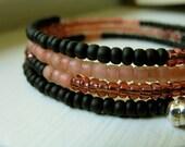 Beaded Memory Wire Bracelet - Pink Mink
