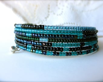 Wrap Cuff Bracelet Blue and Black - The Abyss