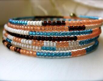 Beaded Wrap Bracelet Cuff Bohemian Cuff Glass Beads - Endless Summer