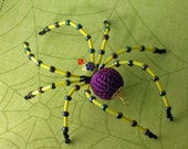 Yarn Purple OOAK Millefiori Beaded Bead Crochet Halloween Spider Tarantula Decoration Handmade