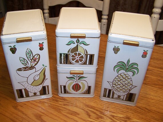 Vintage Ransburg Canisters French Country Set of 4