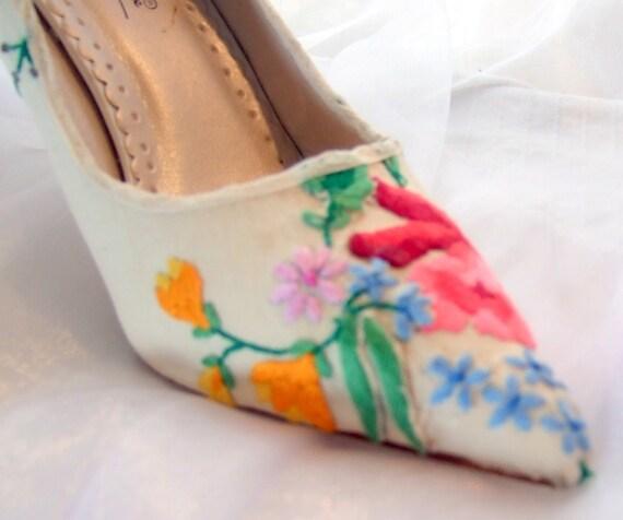 sample sale...custom-designed wedding or prom shoes with vintage hand-embroidered linen...US size 8 ...UK 6...EU size 39