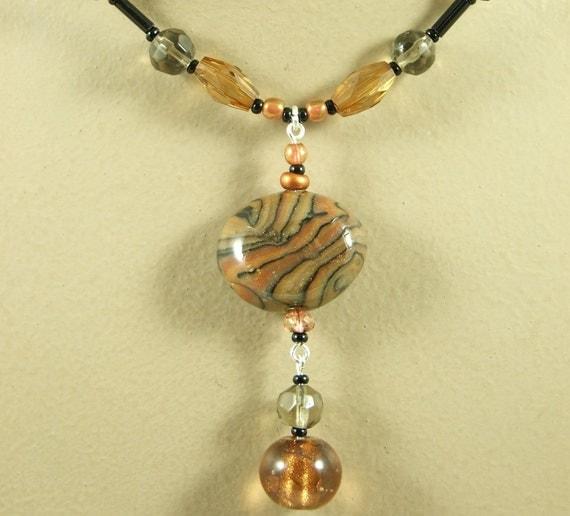 SET -  Brown 'Africa' Polymer Artist Bead Pendant