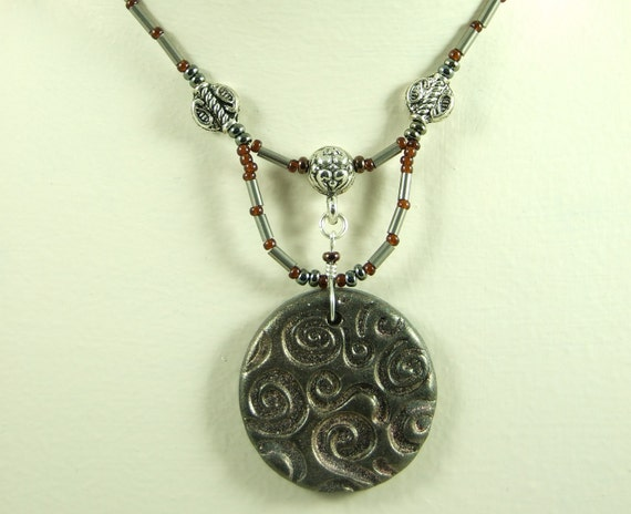 Brown/Grey Jewellery SET - ARTIST BEAD Metallic Swirl Polymer Pendant Necklace and Earrings