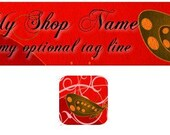Etsy Shop Banner and Avatar / Romantic Red with Butterflies / Digital - OOAK (453)