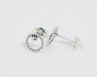 Bead and Dot Stud Earrings, Handmade in Sterling Silver