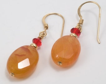 Bright and Cheery Carnelian and Swarovski Crystal Earrings