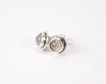 Rose Quartz Stud Earrings, Handmade in Sterling Silver